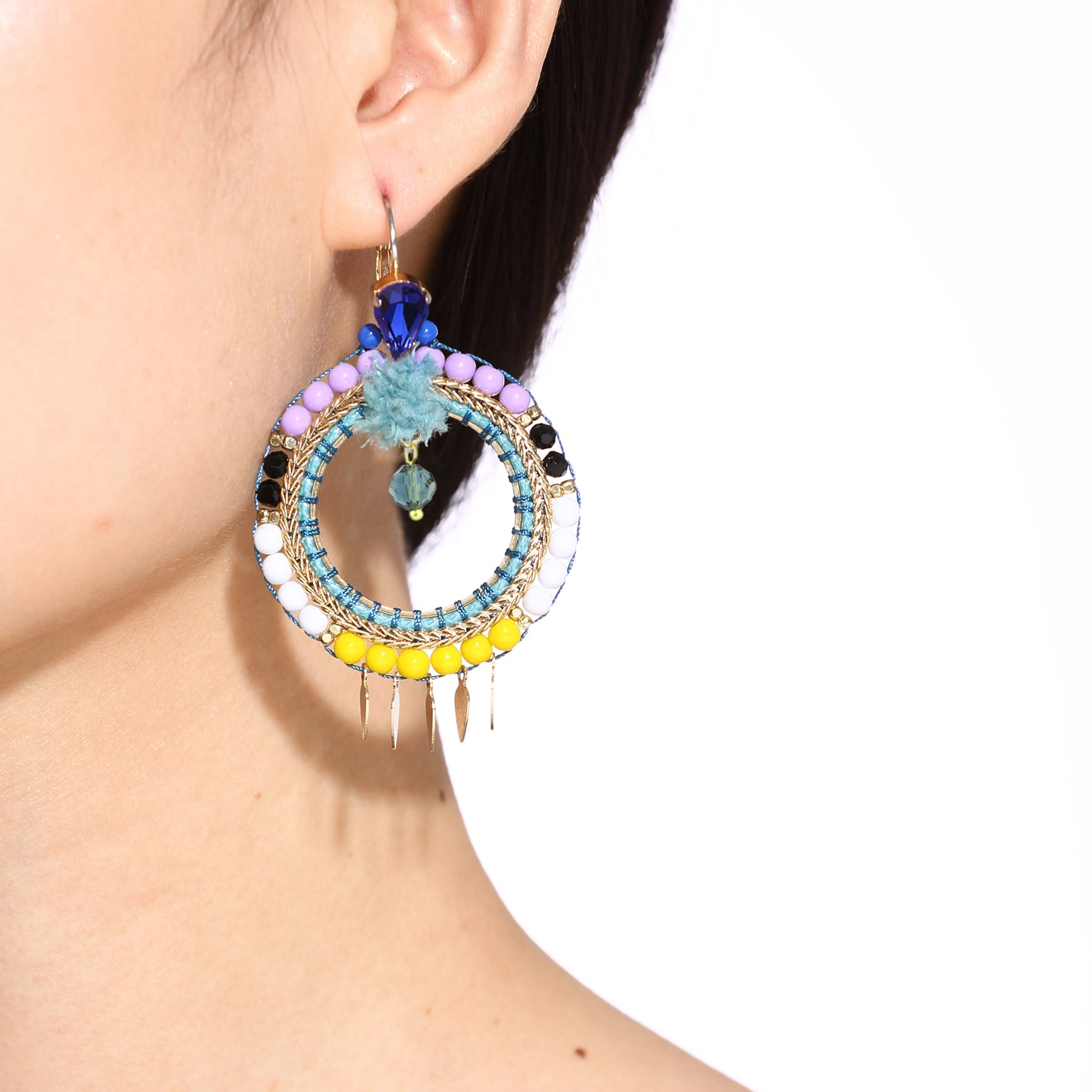 Beadweaving Hoop Earrings