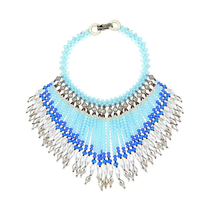 Light Blue Bohemian Beaded Statement Necklace