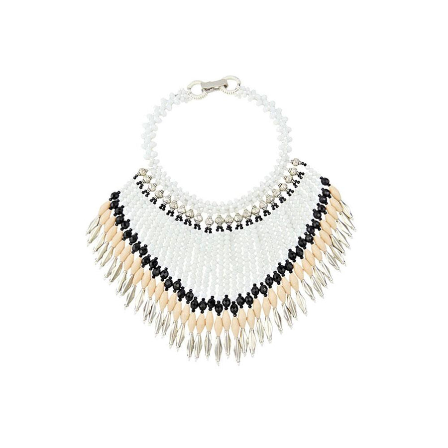 White Bohemian Statement Necklace