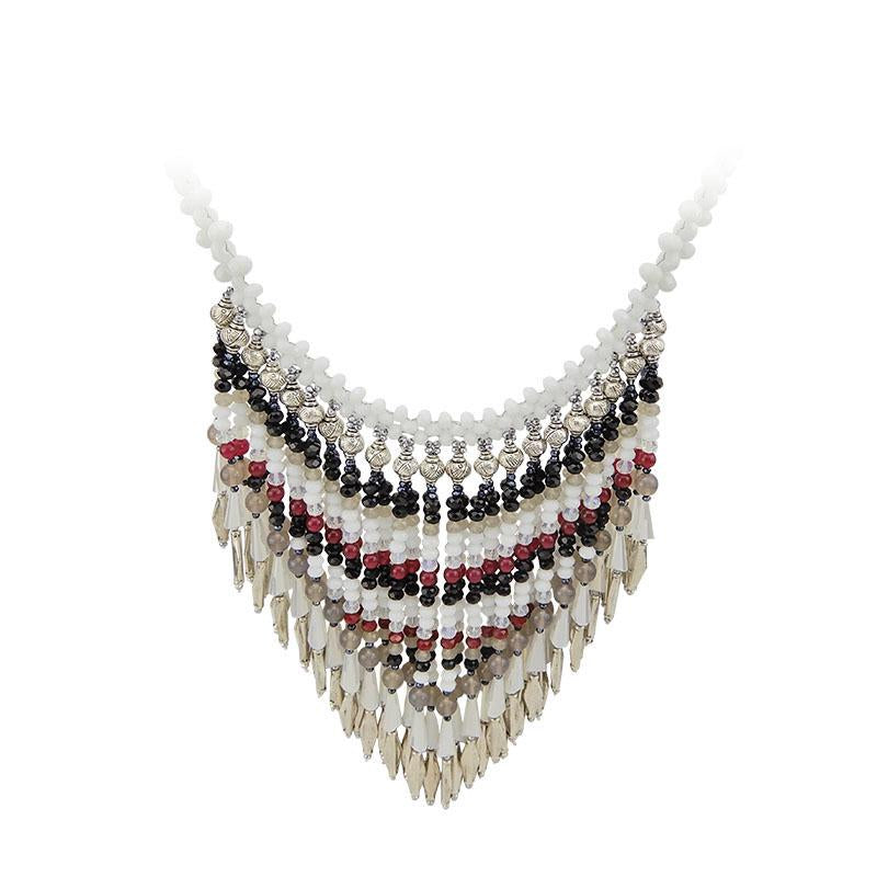 Beaded Cascade Tassel Handmade Necklace
