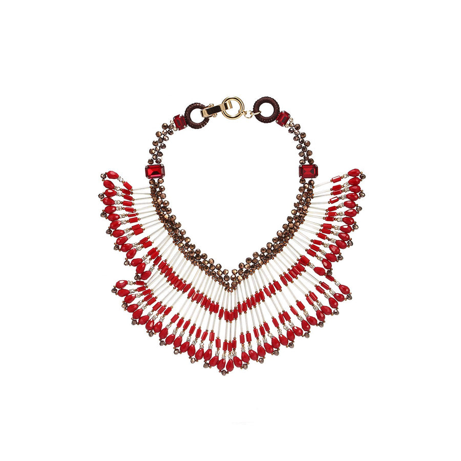 Bohemian Fringed Statement Necklace
