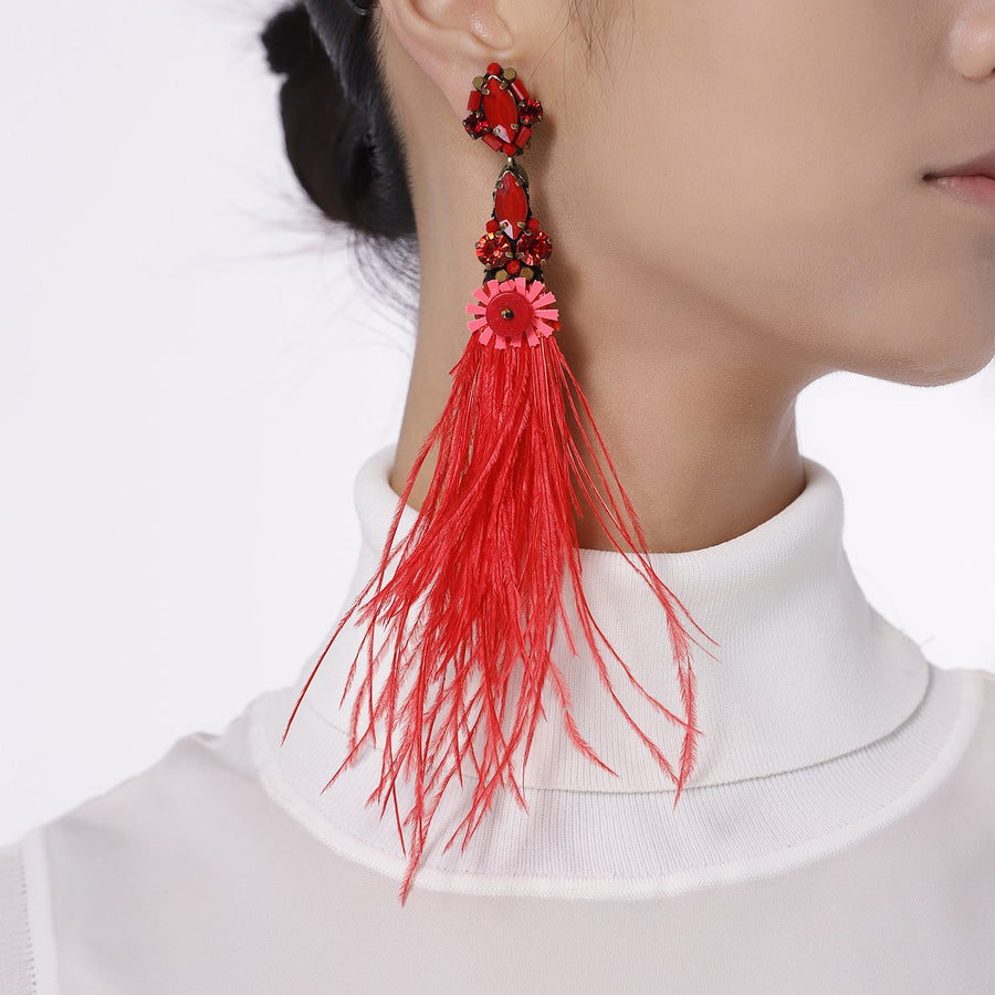 Bohemian Genuine Ostrich Feather Earrings