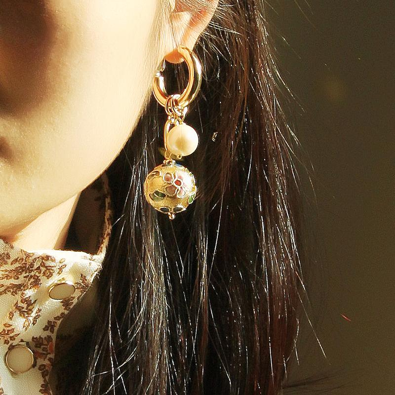 Cloisonne Asymmetrical Pearl Earrings