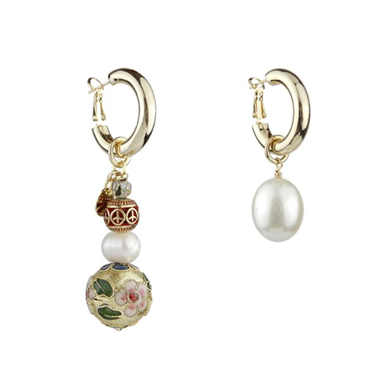 Cloisonne and Pearl Asymmetrical Jewelry Earrings