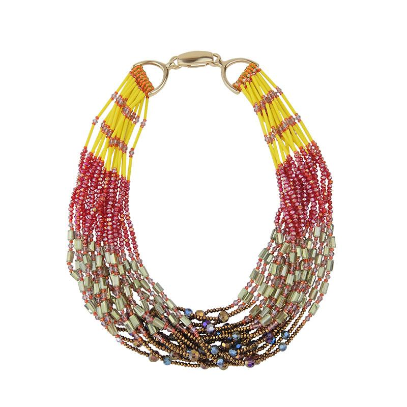 Multi Strand Handcrafted Beaded Necklace
