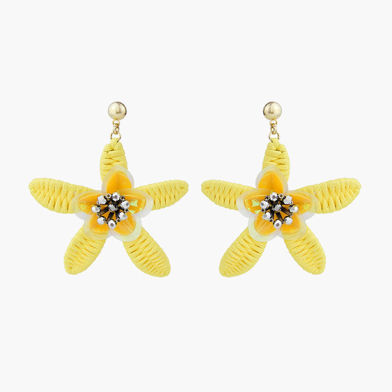 Hand Woven Flower Earrings Lemon Yellow
