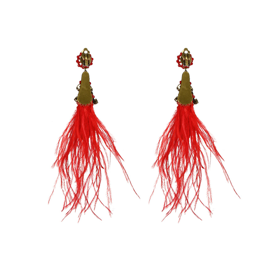 Dancing Ostrich Feather Earrings