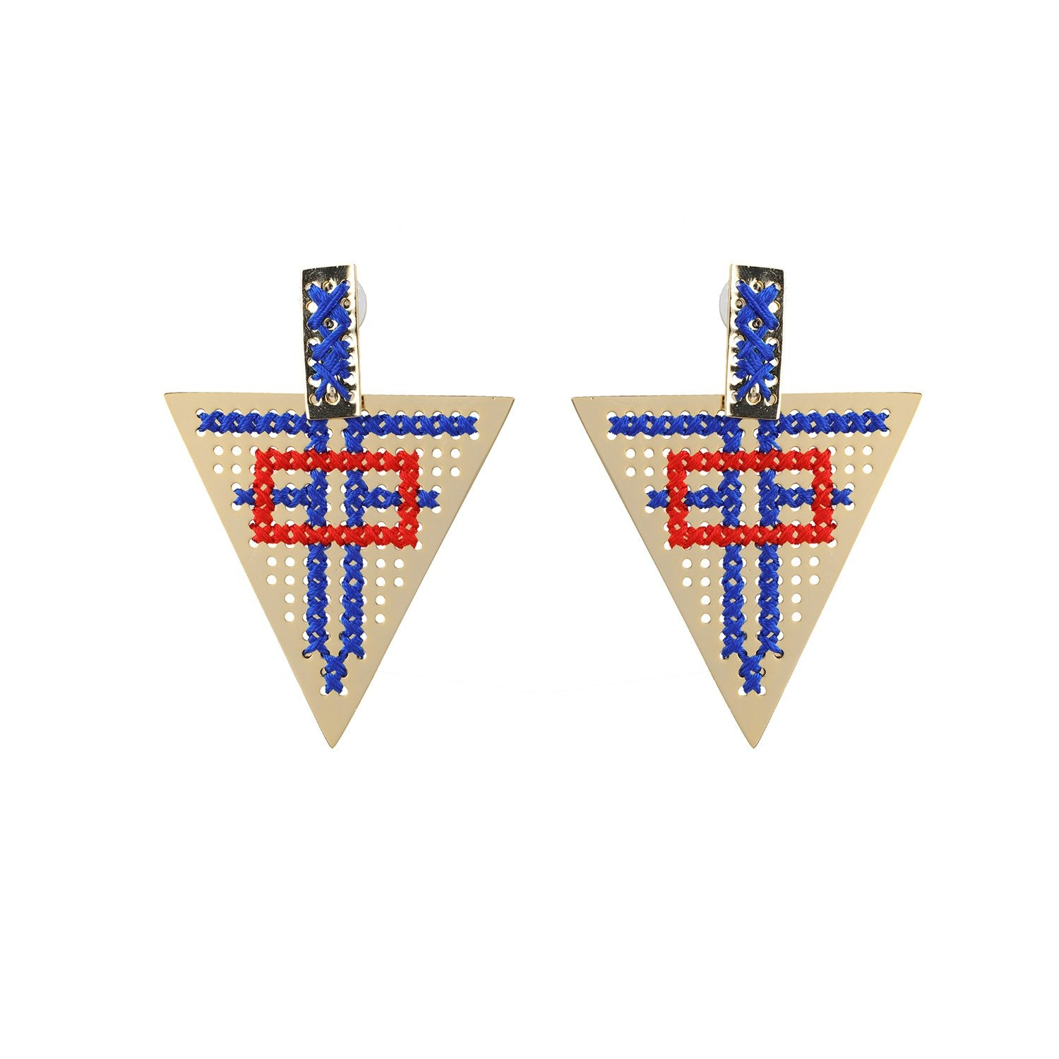 Dangling Triangle Earrings Embroidery