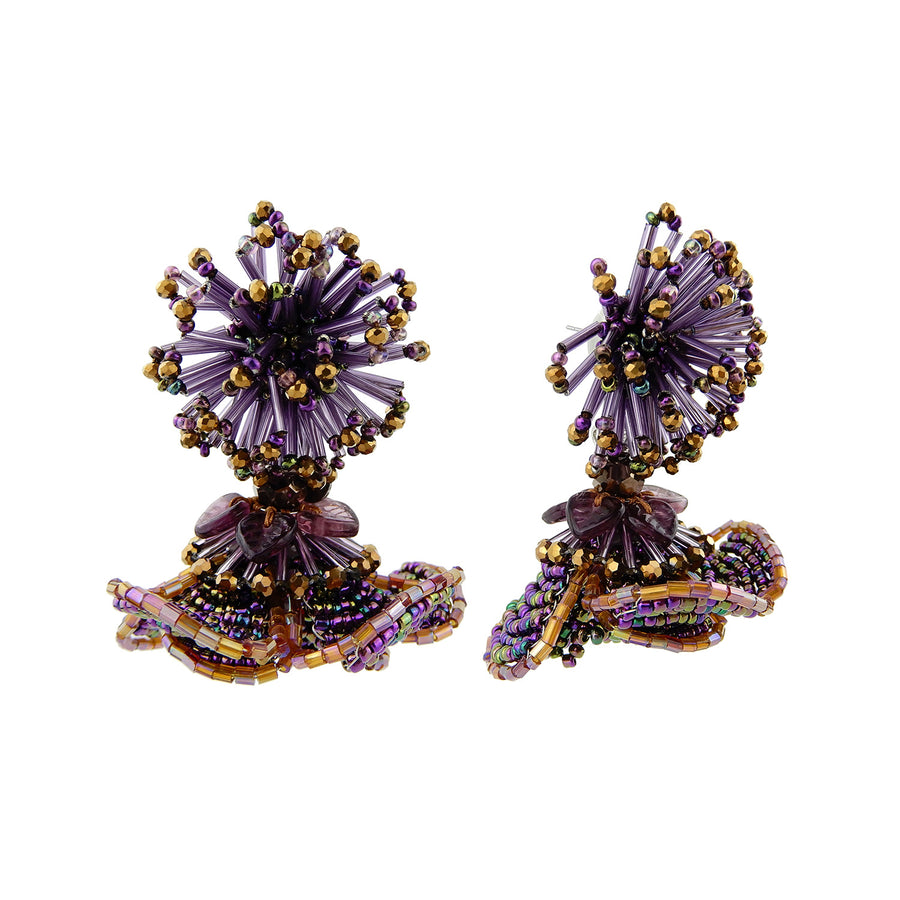 Double Flower Statement Earrings