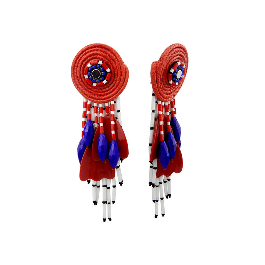 Red Boho Handcrafted Earrings