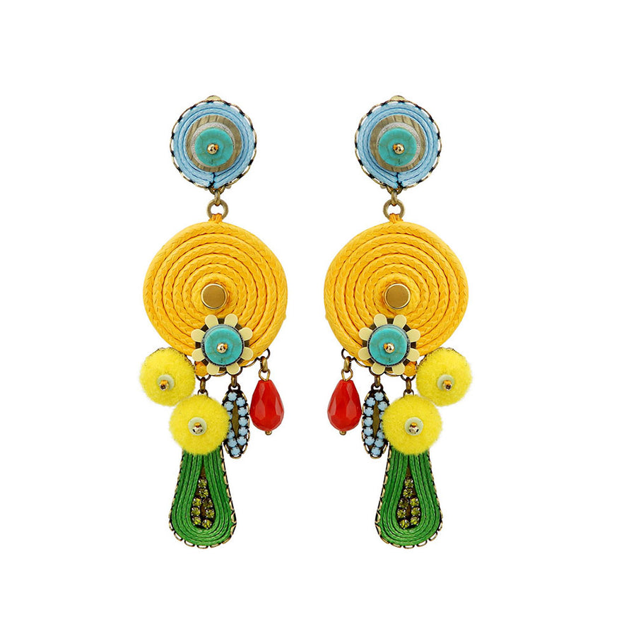 Yellow Dangle Statement Earrings