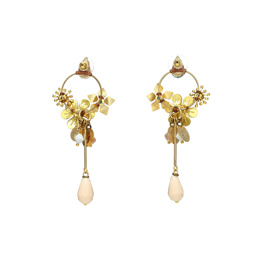 Enamel Flower Earrings with Crystal