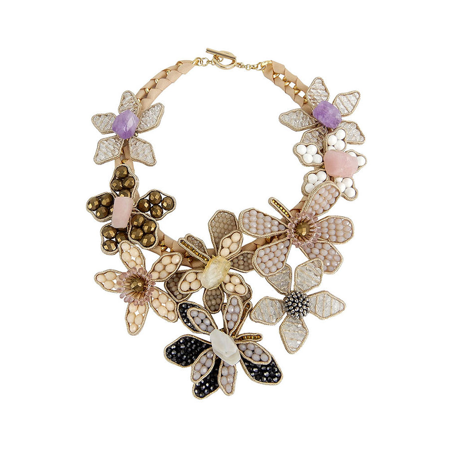 Floral Statement Necklace With Multi Gemstones