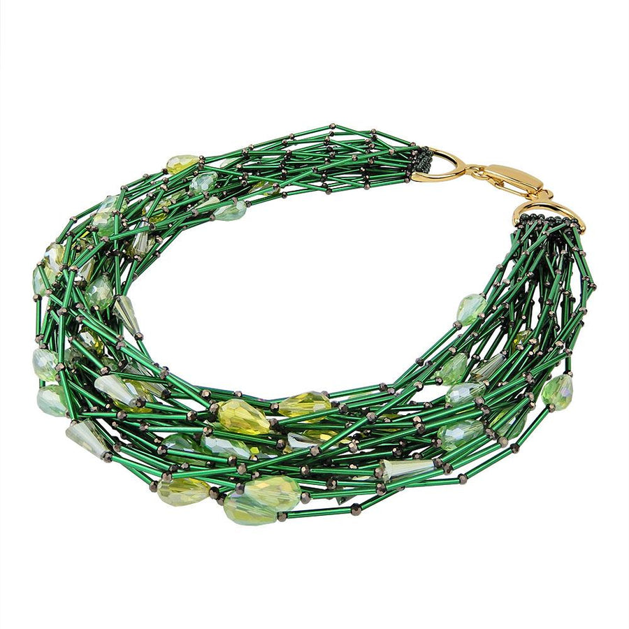 Green Multi Strand Beaded Necklace