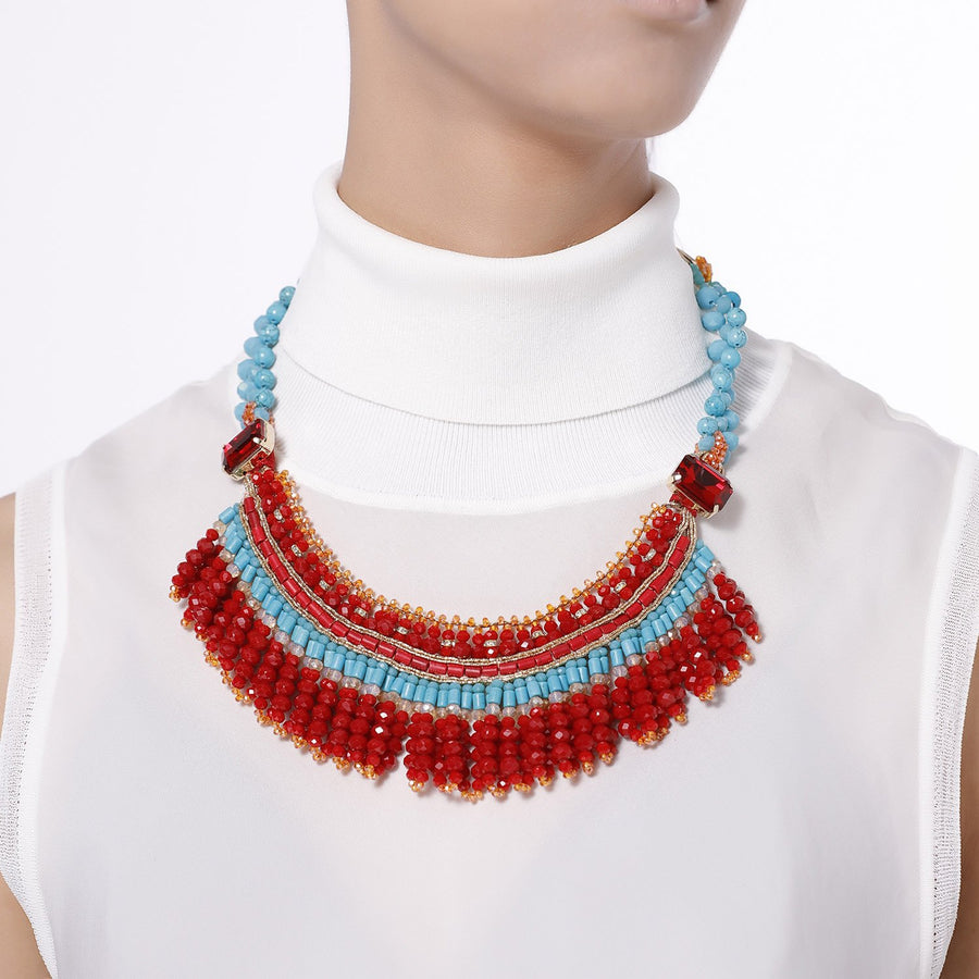 Fringed Tribal Bib Necklace
