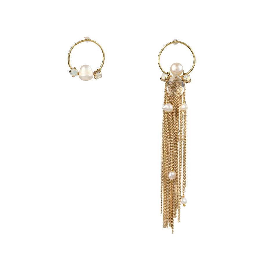 Gold Chain Fringed Earrings
