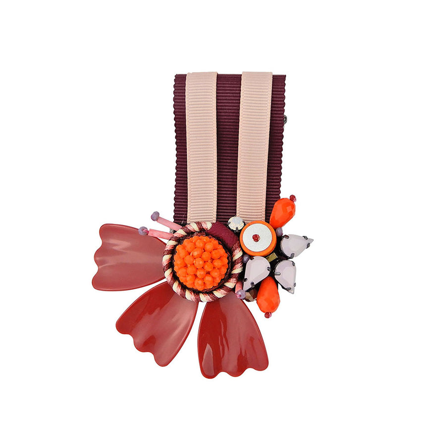 Flower Medal Brooch With Striped Ribbon