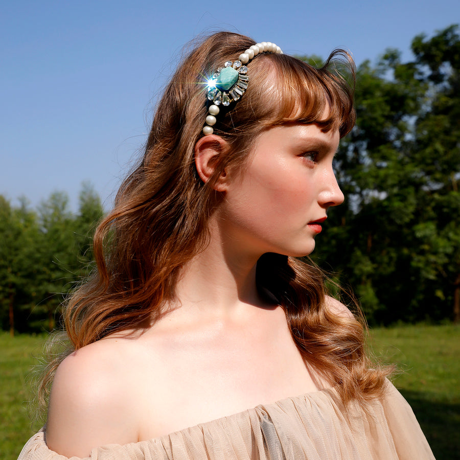 Pearl Headband with Natural Stone