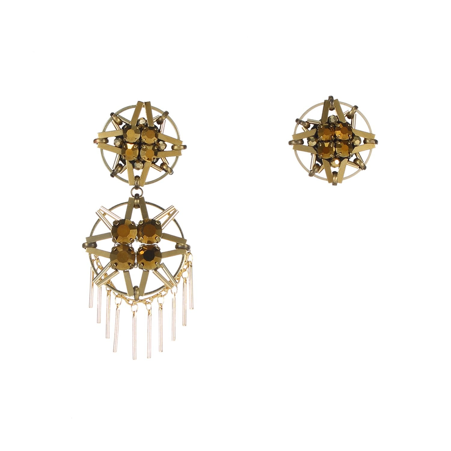 Gold Handmade Asymmetrical Earrings