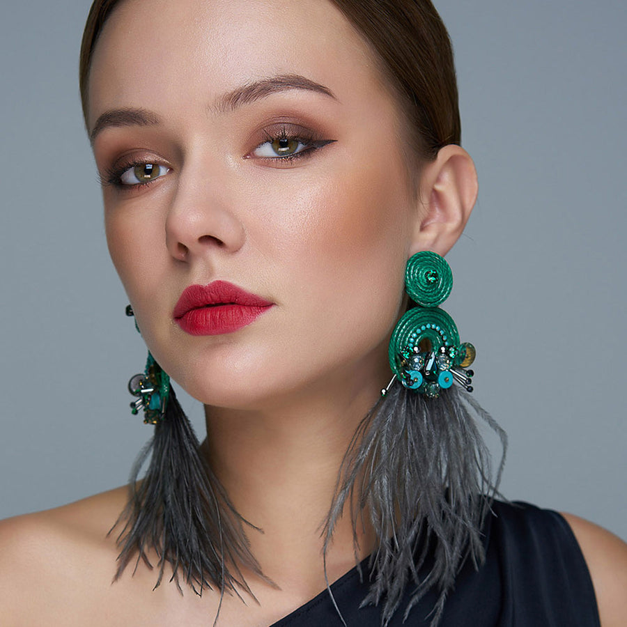 Luxurious Flamenco Earrings with Feathers