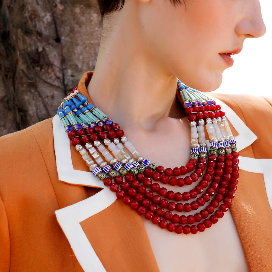 Statement Necklace Red and Turquoise