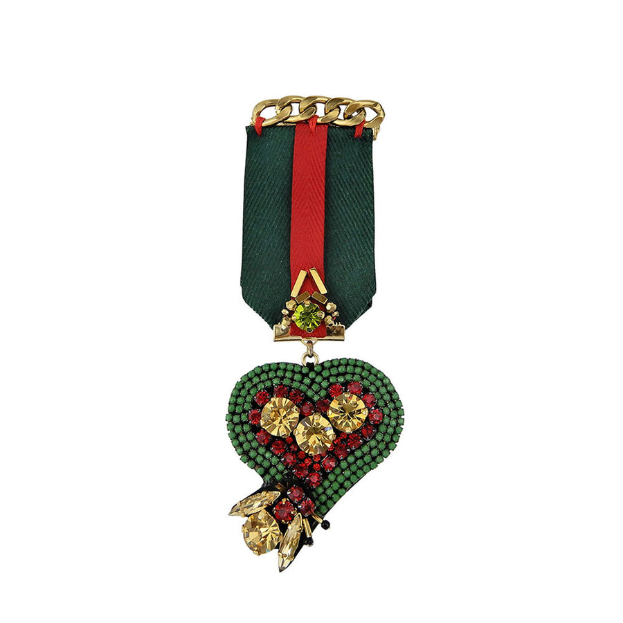 Heart Shaped Medal Brooch Bi Color Ribbon