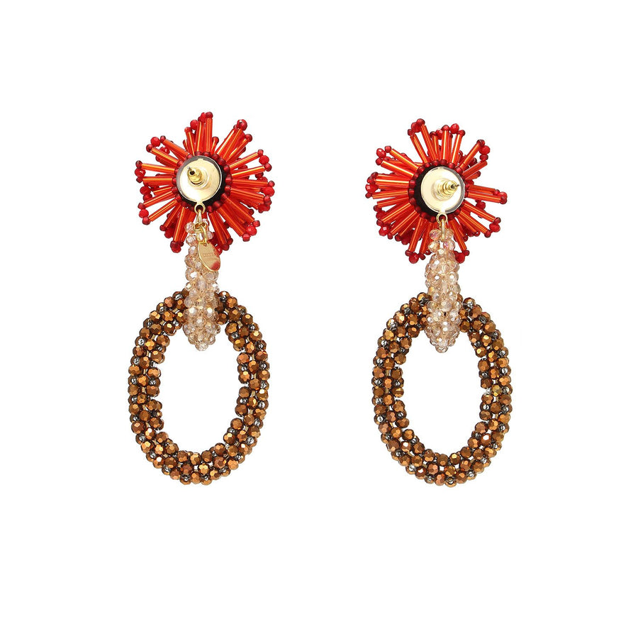 Hoops Statement Earrings with Beads Weaving