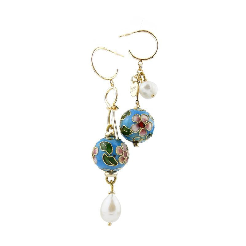 Mismatch Cloisonne Statement Earrings