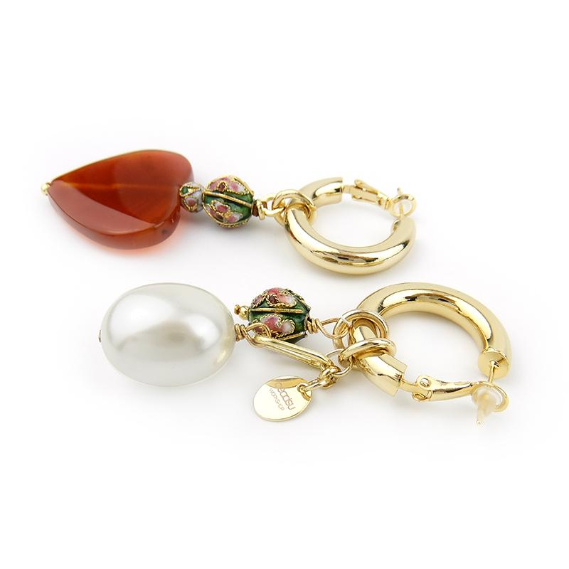 Mismatch Cloisonne and Agate Earrings