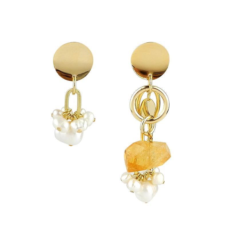 Mismatch Earrings with Citrine and Pearls