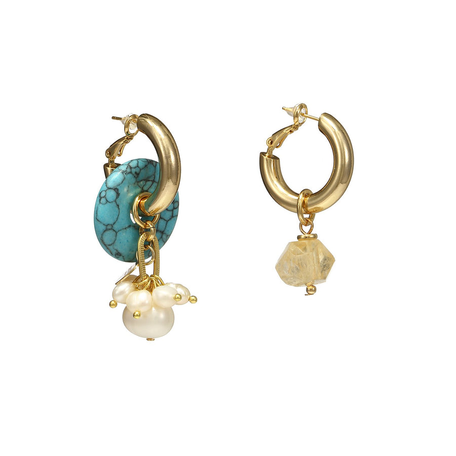 Mismatch Turquoise and Pearls/Citrine Earrings
