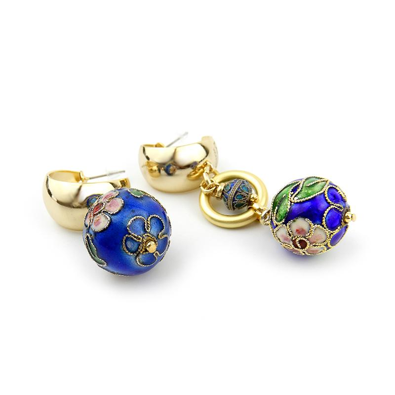Mismatched Cloisonne Statement and Pearl Earrings