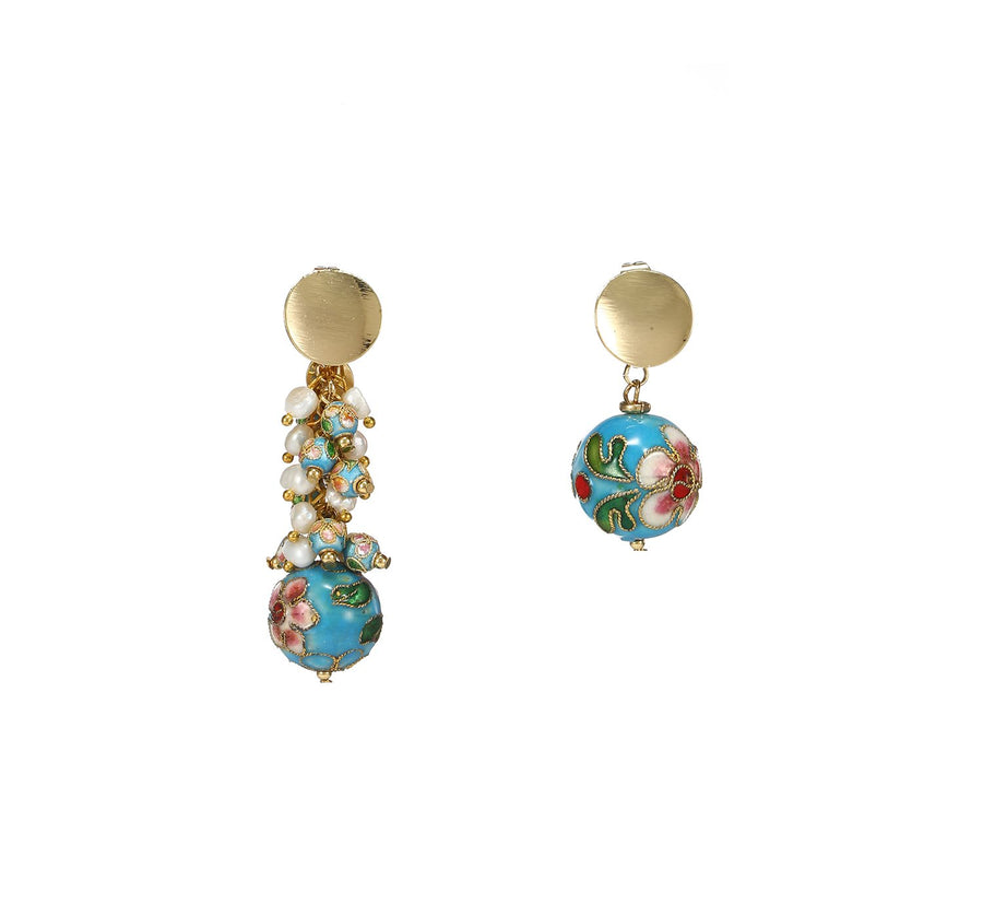 Mismatched Statement Earrings of Cloisonne and Pearls
