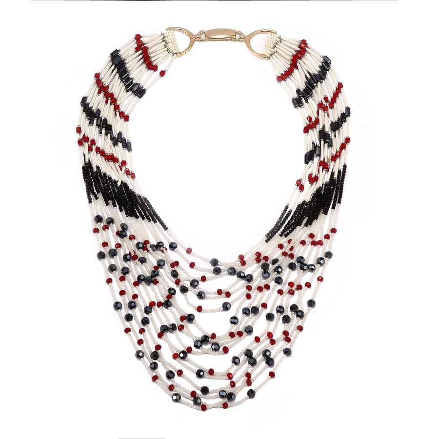Multi Long Strand Beaded Statement Necklace