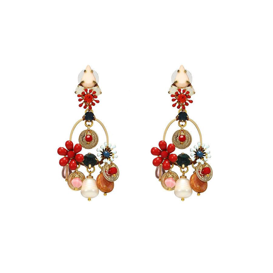 Multi Shaped Colored Flowers Earrings