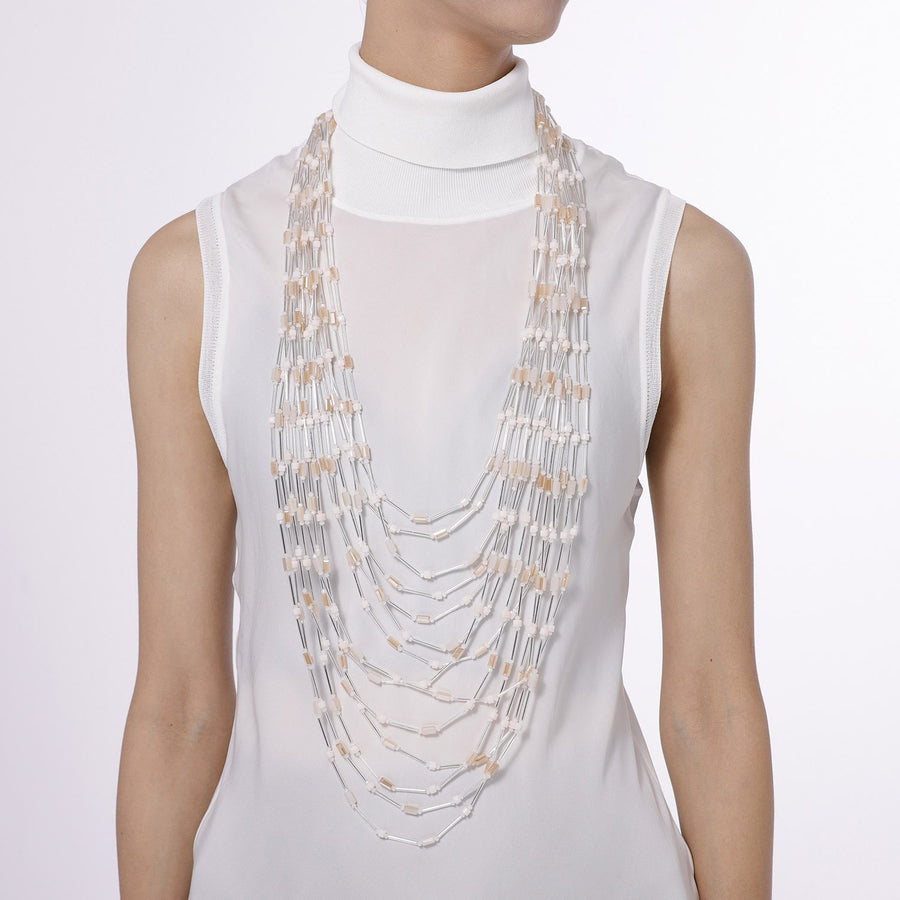Multi Strand Beaded Statement Long Necklace
