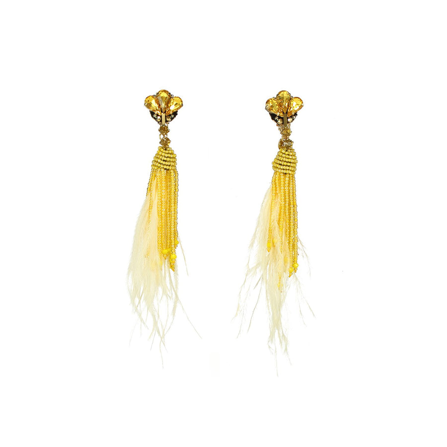 Natural Ostrich Feather Earrings
