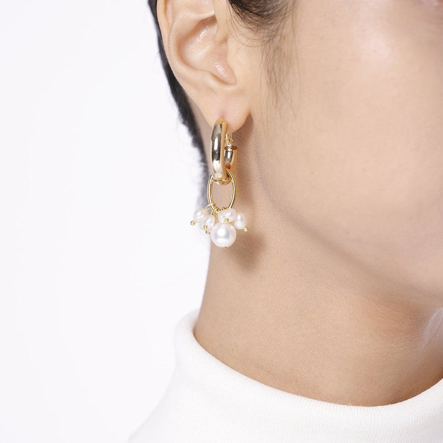 Natural Stone Pearl Asymmetrical Statement Earrings