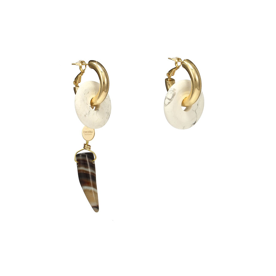 Natural Stones Asymmetrical Statement Earrings