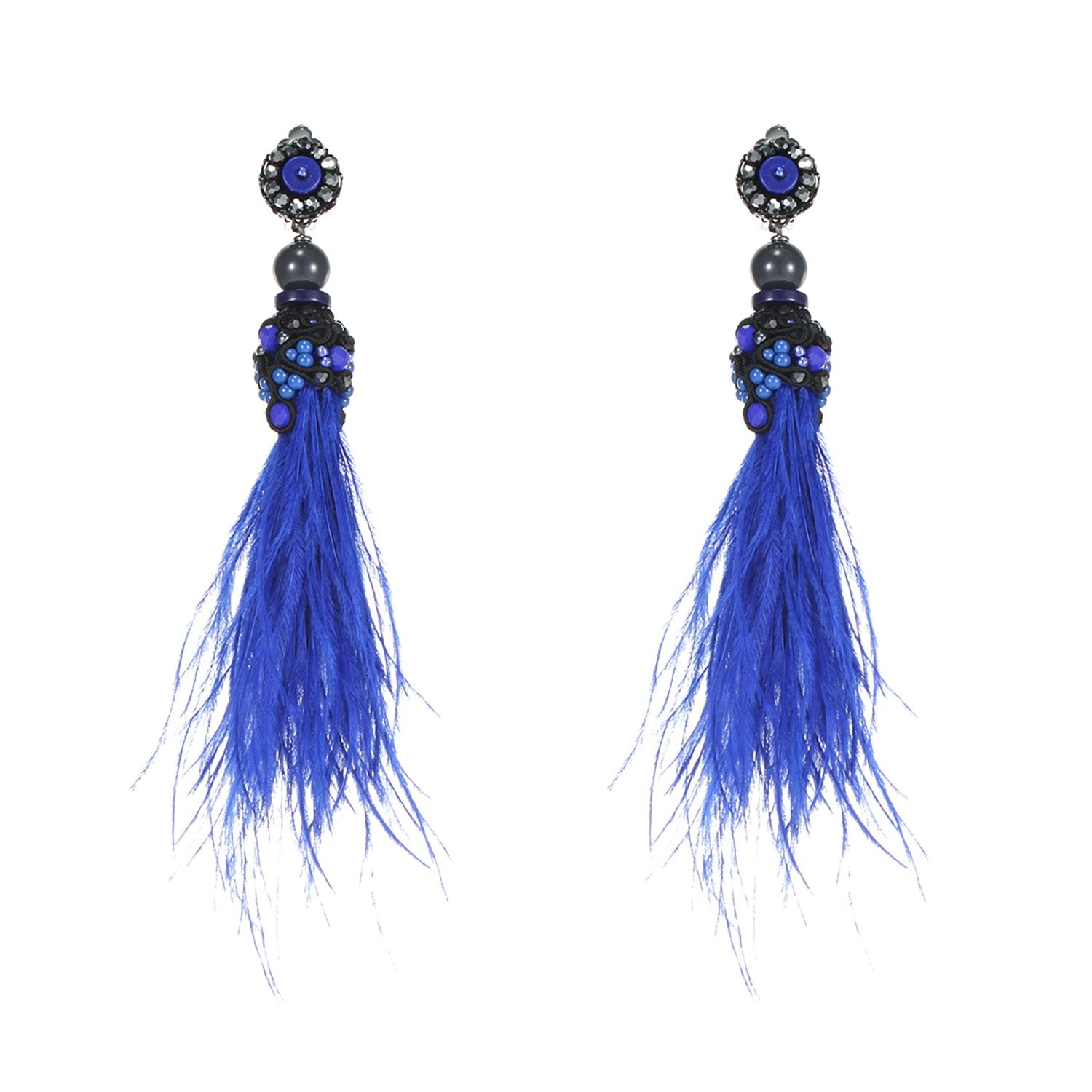 Blue Handmade Ostrich Feather Earrings