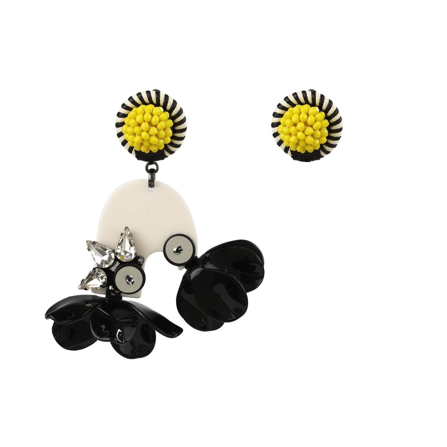 Over Sized Asymmetrical Floral Earrings