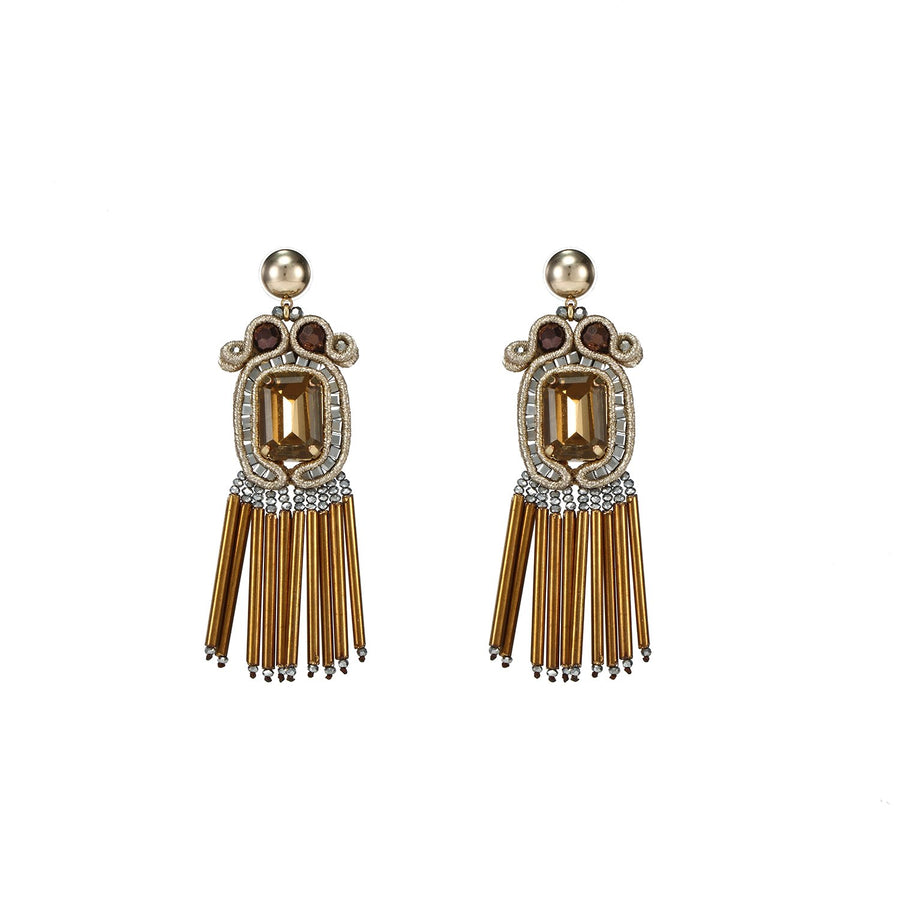 Soutache Earrings with Glass Tube Fringe