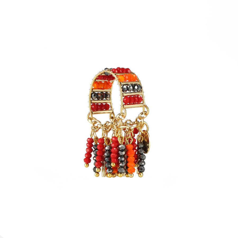 Red Stackable Beaded Ring