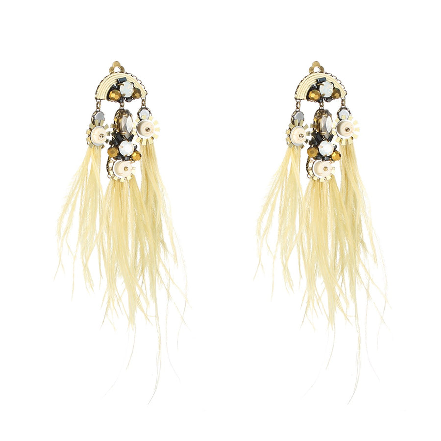 Statement Earrings With Dangling Ostrich Feather