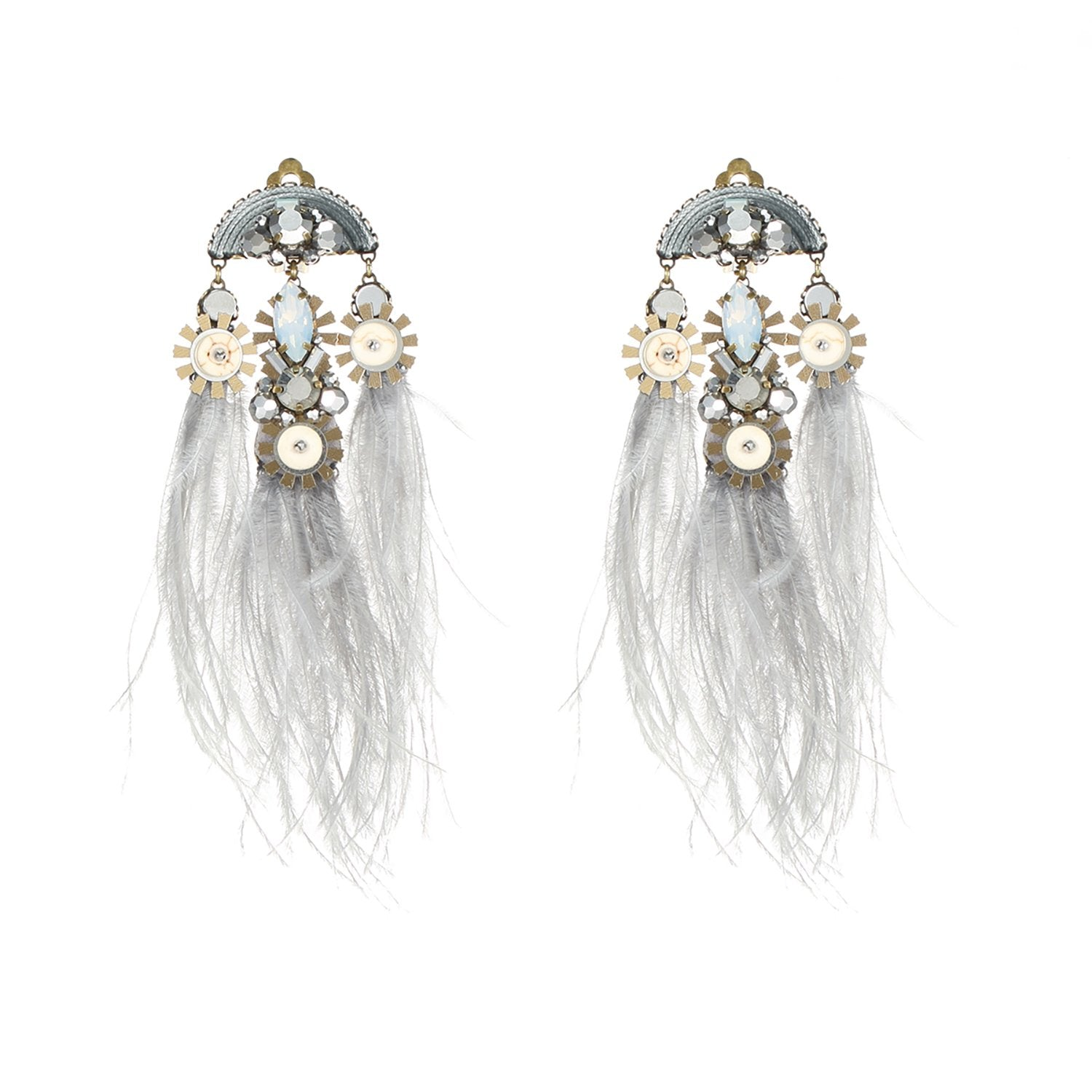 Grey Ostrich Feather Earrings