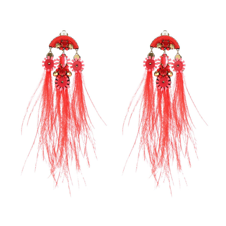 Red Handmade Ostrich Feather Earrings