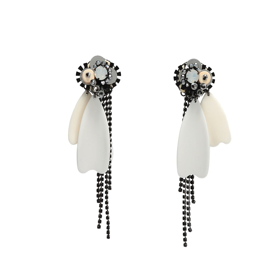 Statement Earrings With Ivory Petals
