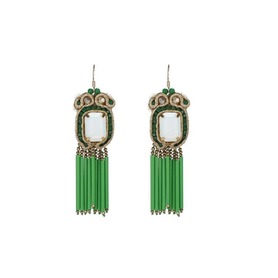 Statement Soutache Earrings with Glass Tube Fringe