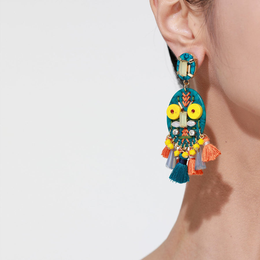 Yellow Handmade Statement Earrings