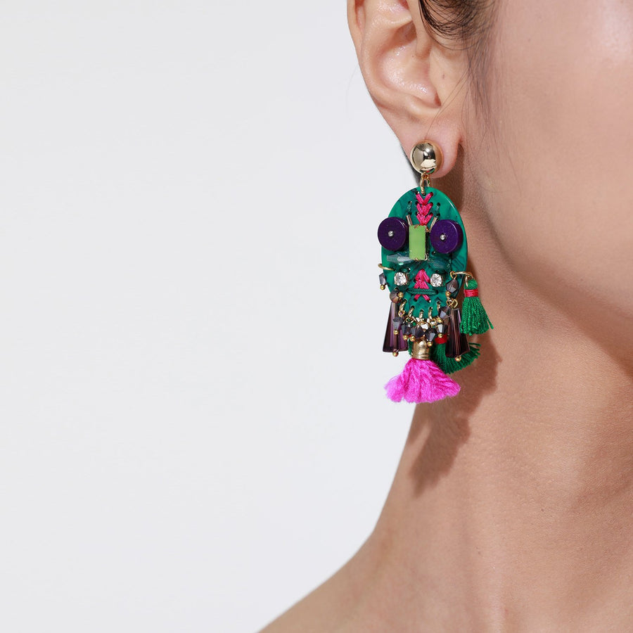 Green Handmade Statement Earrings